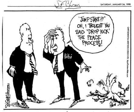 Political Cartoon from 1998 about Netanyahu as a man not for peace.