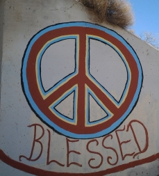 Graffito on the outside of the tunnel/culvert under US95 near Mercury Nevada and the Peacecamp site where nuclear abolitionists met and staged prayer circles, incursions onto the old Nevada Test Site to impede nuclear testing.