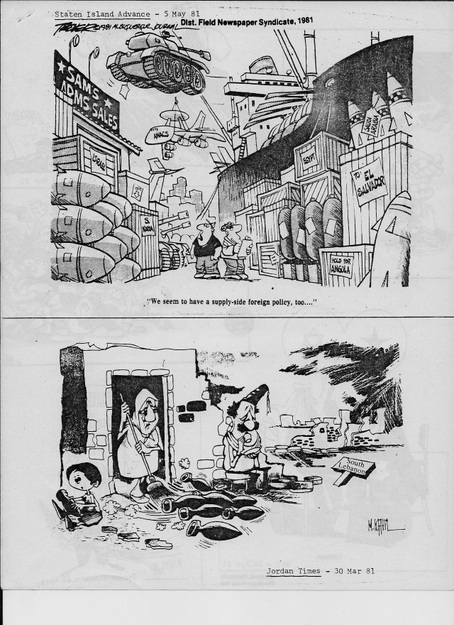 1981 political cartoons that look apropos today if we replace south Lebanon with Gaza.