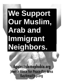 JVP anti Islamophobia window sign